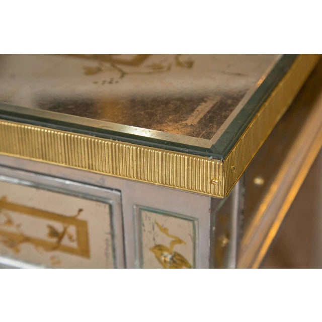 French Louis XVI Style Verre Eglomise Desk - Image 2 of 9