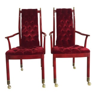 Red Tufted Velvet Mid-Century Modern Chairs - A Pair For Sale