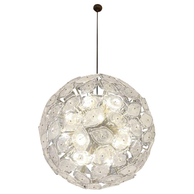 Contemporary Italian Brass & White Frosted Murano Glass Leaf Sputnik Chandelier For Sale