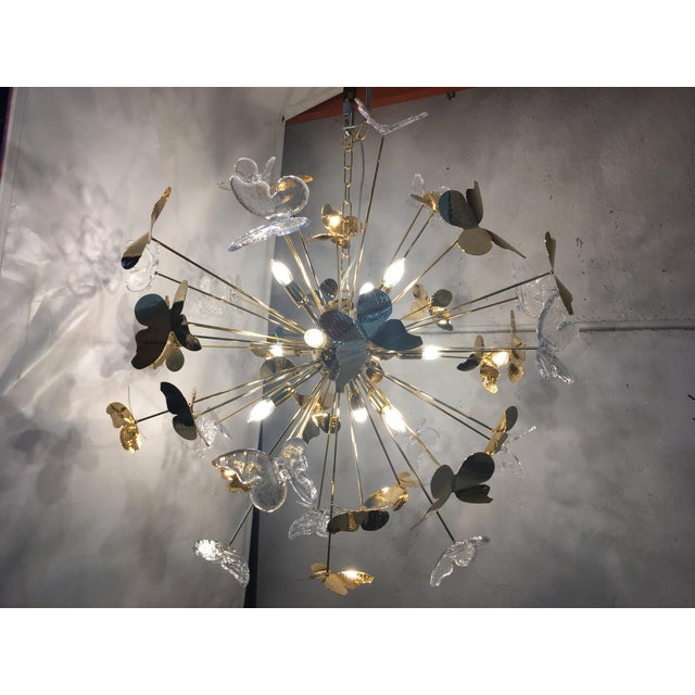 Rare Hand Made Italian Gold 24k Butterfly Chandelier Sputnik The butterflies all are hand made. Only one piece metal frame...