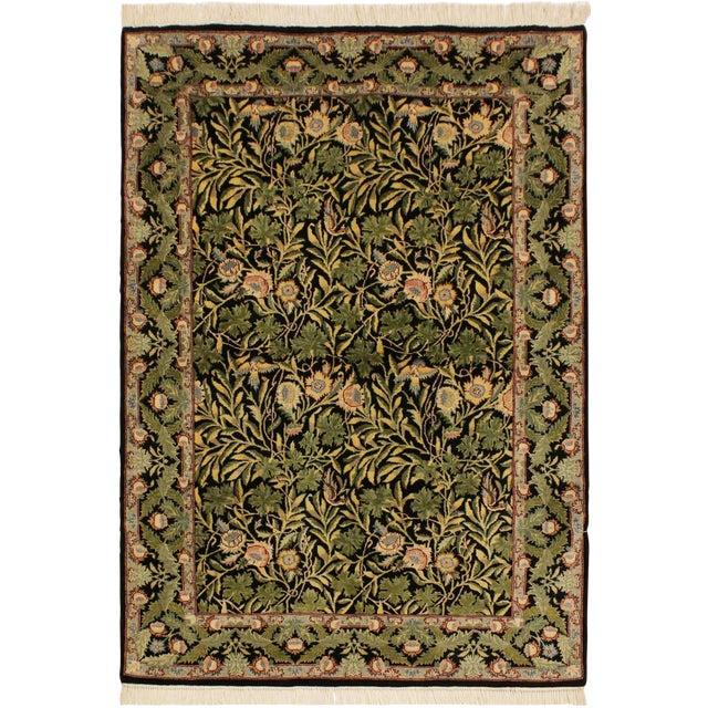 Imran Pak-Persian Danette Black/Green Wool Rug - 4'1 X 6'0 For Sale