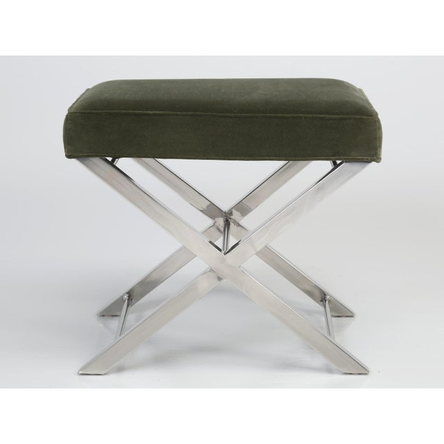 Modern Modern Chrome Stool With Classic X-Style Frame For Sale - Image 3 of 11
