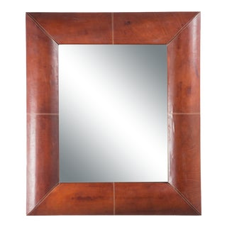French Mirror with Stitched Leather Frame For Sale