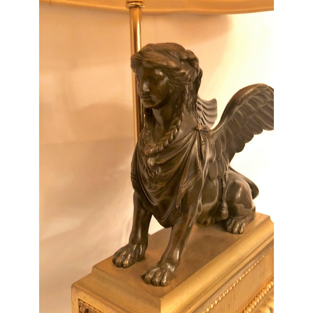 Pair Antique French Napoleonic Era Bronze Sphinx Figures Made Into Lamps, Circa 1800-1810. For Sale - Image 4 of 5