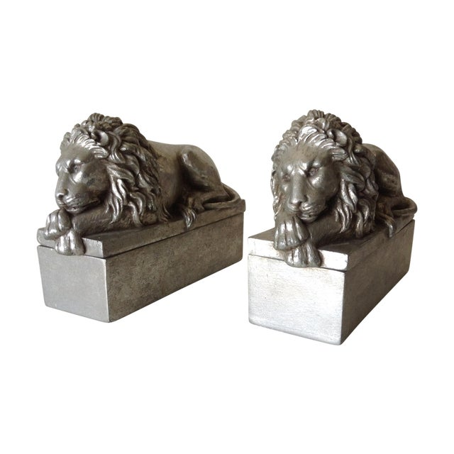 Silver Leaf Lion Lidded Boxes - Pair - Image 1 of 8