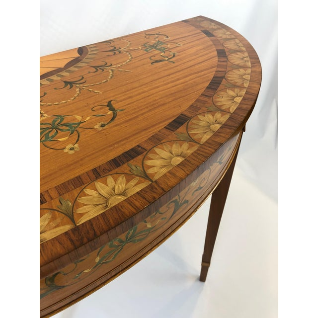 Traditional 1970s Traditional Hand Painted Demilune Console Table For Sale - Image 3 of 13