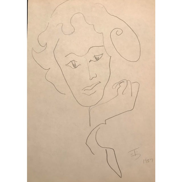 Illustration Mid-Century Modern Portrait of a Lady Drawing by James Bone, 1957 For Sale - Image 3 of 3