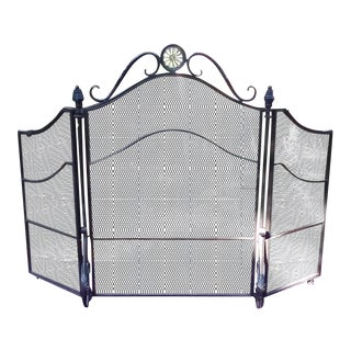 1960s Vintage Wrought Iron Fireplace Screen