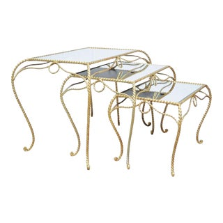 Vintage Stack Nest of Italian Gold Rope Mirror Tole End Tables Hollywood Regency For Sale