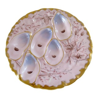 Antique French Porcelain Oyster Plate Pink and Gold For Sale