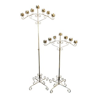 Vintage Late 20th Century Brass Seven-Light Adjustable Floor Candelabras - a Pair For Sale