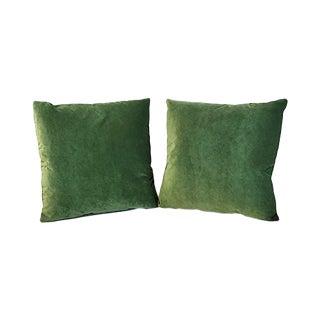 Kim Salmela Jade Silk Velvet Square Throw Pillows - a Pair For Sale