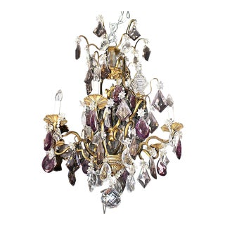 French Baccarat Lyre-Style Chandelier For Sale