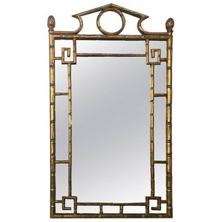 French Giltwood Faux Bamboo Mirror For Sale