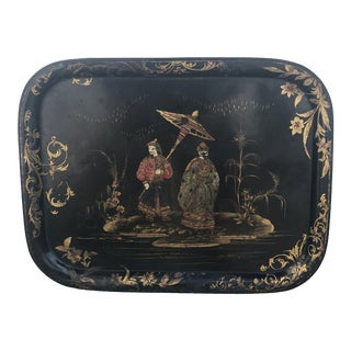 19th Century Black Tole Chinoiserie Tray For Sale