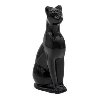 Vintage Baccarat Black Crystal Egyptian Cat Figurine For Sale