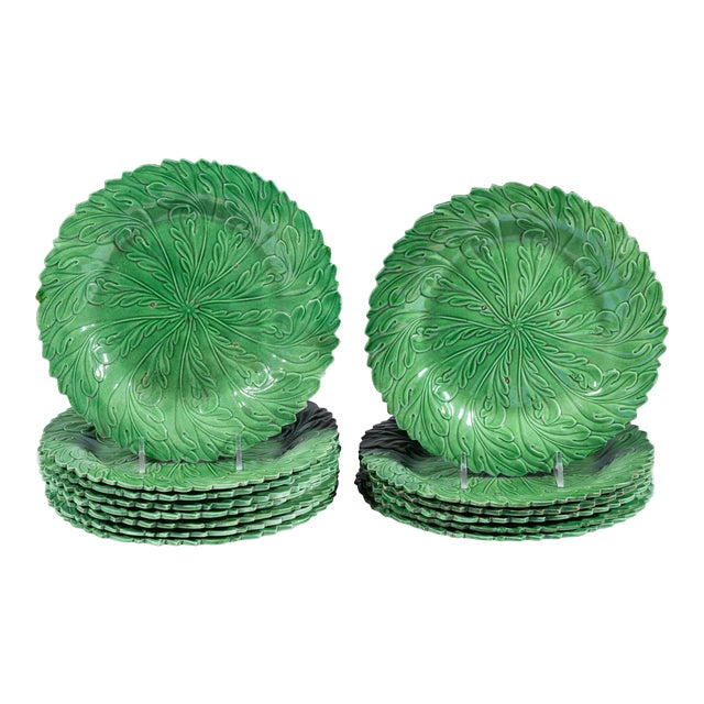 Yorkshire Pottery Green-Ground Plates - Set of 14 For Sale