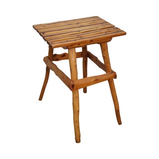 Rustic Adirondack Solid Cedar Wood Side Table For Sale