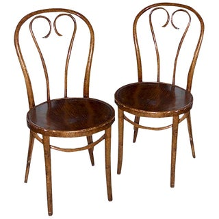 19th Century French Stained XIX Bentwood Chairs- A Pair For Sale