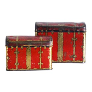 1940s Rustic Chinoiserie Red & Gold Tea Tins - a Pair For Sale