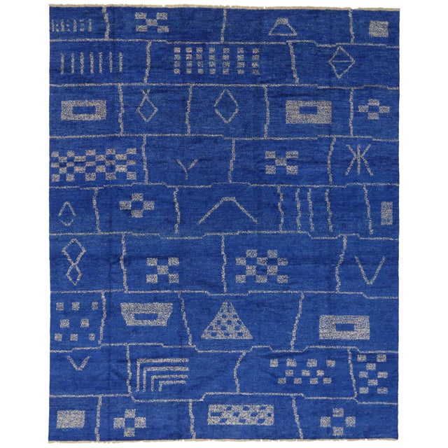 New Contemporary Blue Moroccan Area Rug With Modern Bauhaus Style - 12'4 X 15'3 For Sale In Dallas - Image 6 of 10