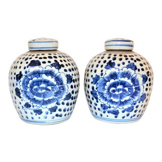 Porcelain Blue White Mini Lidded Jars- A Pair For Sale