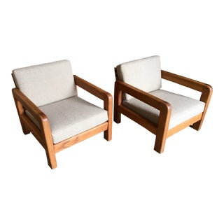 Modernist Oak Lounge Chairs - a Pair For Sale