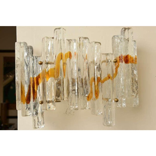 "Pair of Venini Murano Glass Mazzega Sculptural ""Staggered"" Pendant Sconces - Image 4 of 10"