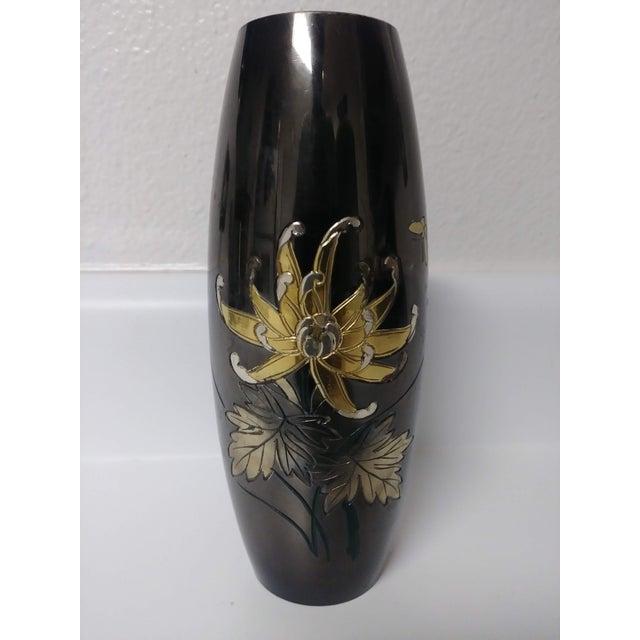 Vintage Japanese Mixed Metal Black Vase For Sale In Las Vegas - Image 6 of 6