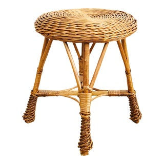 Vintage Round Wicker Stool For Sale