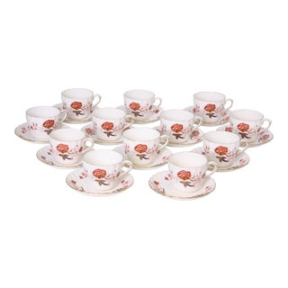 Vintage Royal Crown Derby Bali Pattern Cups and Saucers - Set of 12 For Sale