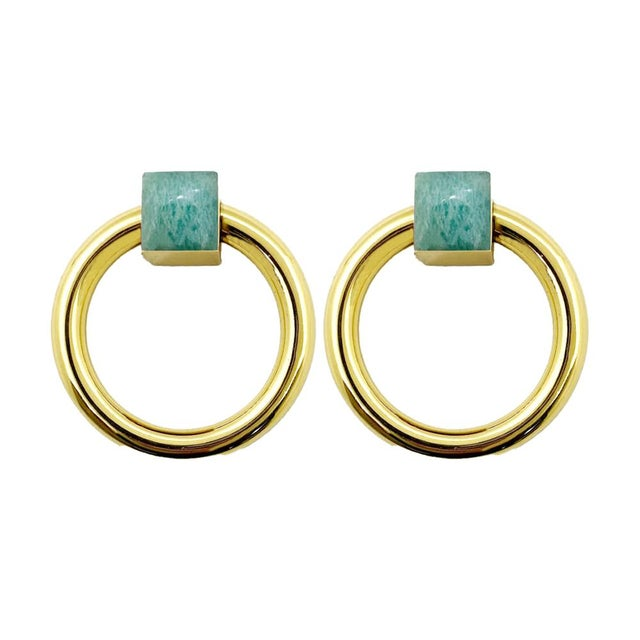Not Yet Made - Made To Order Addison Weeks Porter RIng Pull, Brass & Amazonite - a Pair For Sale - Image 5 of 5