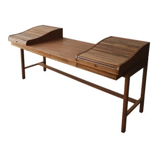 Customized Mid Century Rosewood and Walnut Desk by Edward Wormley for Dunbar For Sale