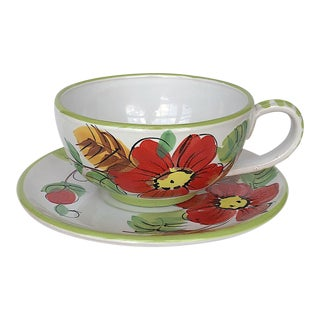 Large Italian Pottery Latte Cup & Saucer