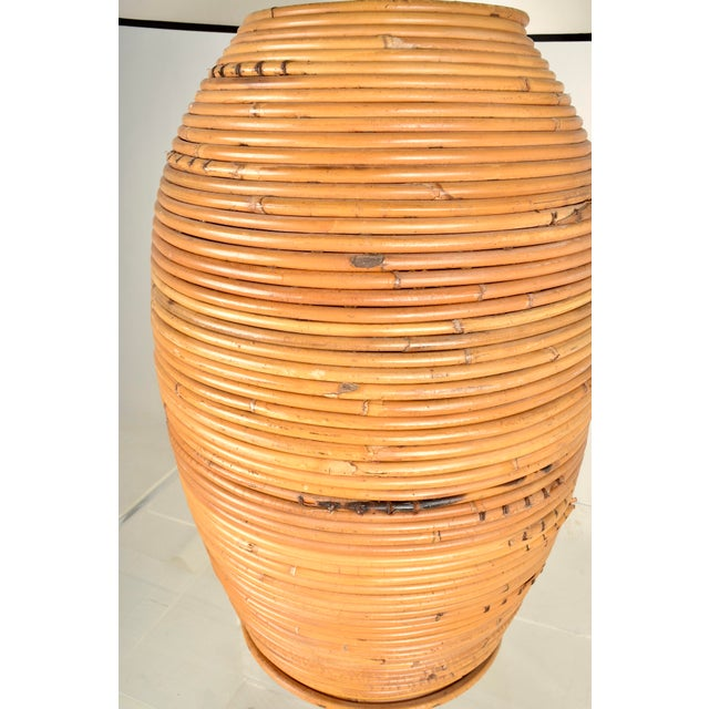 Gabriella Crespi Large Rattan Lamp With Shade For Sale - Image 4 of 8