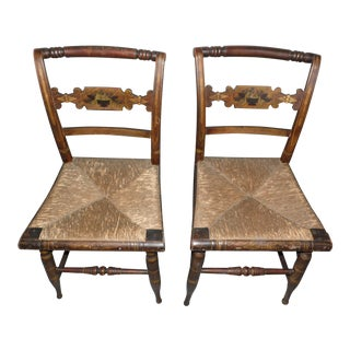 Antique Hitchcock Rush Seat Chairs - A Pair