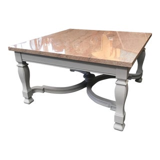 Granite Top Coffee Table With Gray Painted Neo Classic Base. For Sale