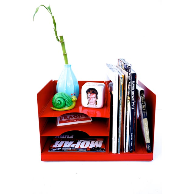 Awesome vintage Mid-Century steel case file /record / magazine rack | desk organizer. Revived/refreshed in a perfect...