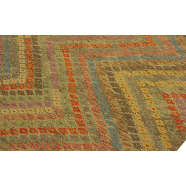 1990s Contemporary Tribal Edgardo Gray/Blue Hand-Woven Kilim Wool Rug -6'9 X 9'7 For Sale - Image 5 of 8
