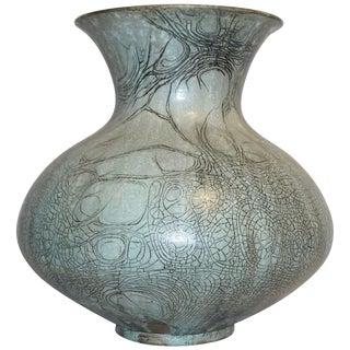 La Borne Ceramics 1950s French Graffiti Enameled Stoneware Gray Large Vase For Sale