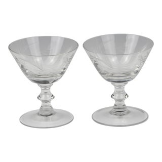 Vintage Etched Floral Design Cocktail Glasses- a Pair For Sale