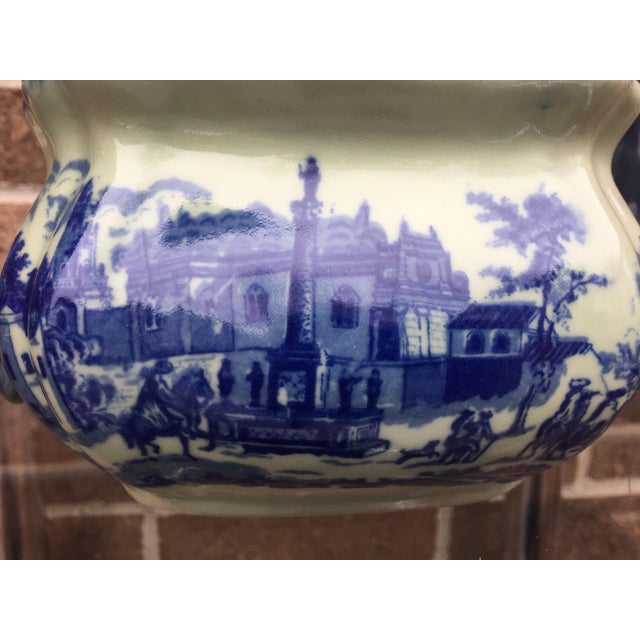 Vintage Flow Blue English Teapot For Sale - Image 9 of 10