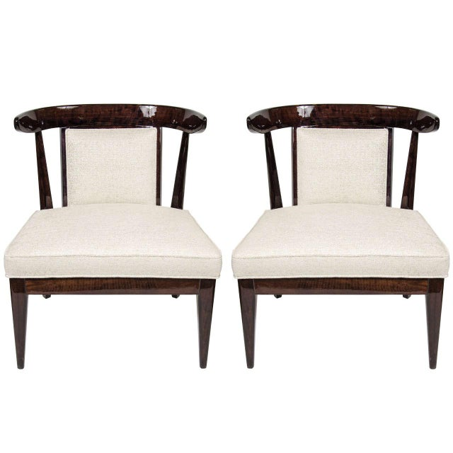 Pair of Mid-Century Modernist Klismos Style Chairs in Ebonized Walnut For Sale - Image 9 of 9
