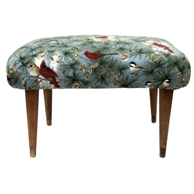 Mid-Century Cardinal Upholstered Stool - Image 1 of 11