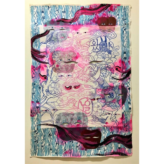 Ink and Acrylic, screen print, paper on Hanji In her image- and color-saturated paintings and prints, Jiha Moon mashes up...