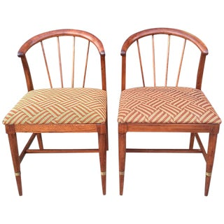 Mid-Century Art Deco Mahogany Accent Chairs - A Pair