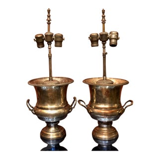 Pair of Antique Armorial Crest Silver Loving Cup Designer Lamps For Sale