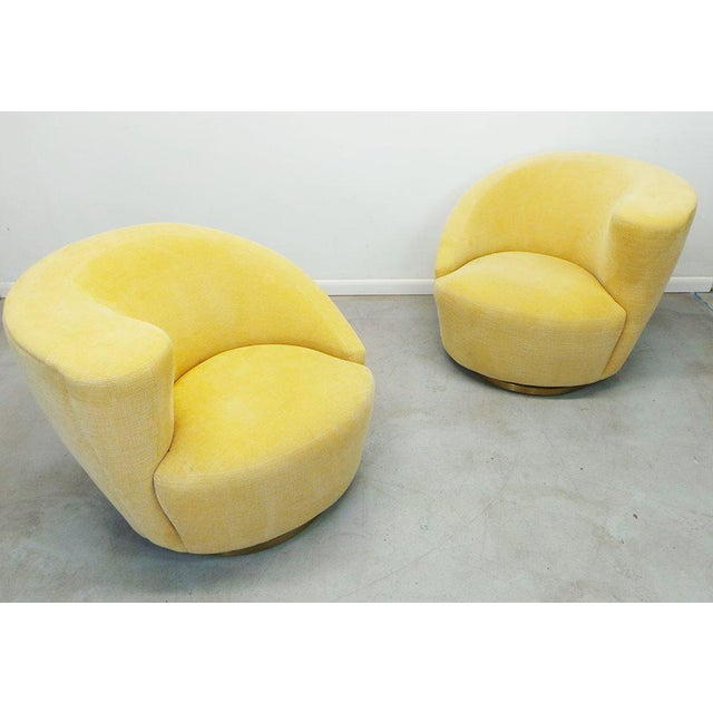 """Stunning pair of authentic post modern Vladimir Kagan for Weiman swivel """"Nautilus"""" corkscrew club chairs upholstered in a..."""