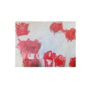 M. P. Landis Red & White Abstract Painting For Sale
