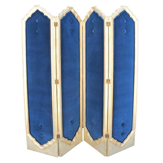 Blue Four Panel Regency Gilded Screen - Image 1 of 5